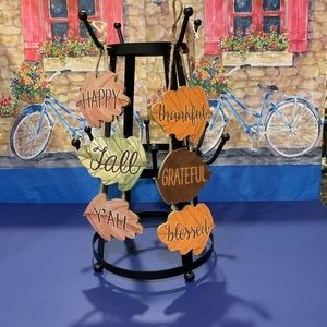 Hello Fall Hanging Plaque Set of Two